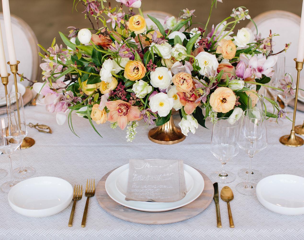 Wedding Table Arrangement Flowers by Salt Harbor Designs
